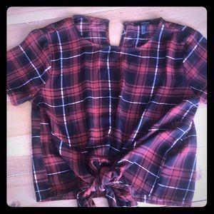 Cute satin tartan tie-front short sleeve